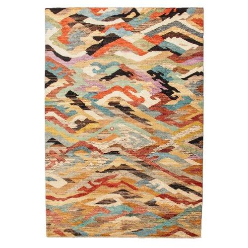 Handgeknüpft Modern Art Deco 301x204cm Abstrakt Wolle Teppich multi