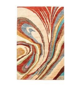 ZARGAR RUGS Handgeknüpft Modern Art Deco 302x195cm Abstrakt Wolle Teppich multi