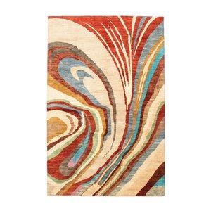 Handgeknüpft Modern Art Deco 302x195cm Abstrakt Wolle Teppich multi