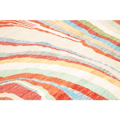 Handgeknüpft Modern Art Deco  301x206cm Abstrakt Wolle Teppich multi
