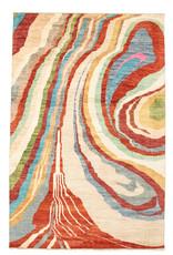 ZARGAR RUGS Handgeknüpft Modern Art Deco  301x206cm Abstrakt Wolle Teppich multi