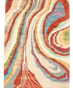 Handgeknoopt Modern Art Deco tapijt 301x206cm  oosters kleed vloerkleed  multi
