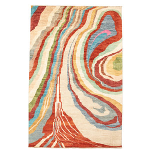 Hand knotted 9'87x6'75 Modern  Art Deco Wool Rug 301x206cm  Abstract Carpet   multi