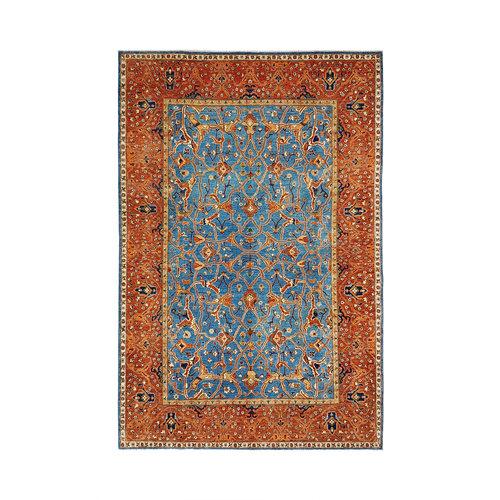 super fein oriental kazak teppich 359x259 cm blue