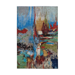 Hand knotted 9'5x6' Modern  Art Deco Wool Rug 291x190cm    Abstract Carpet   multi