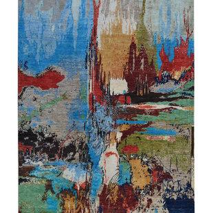 Handgeknoopt Modern Art Deco tapijt 291x190cm  oosters kleed vloerkleed  multi