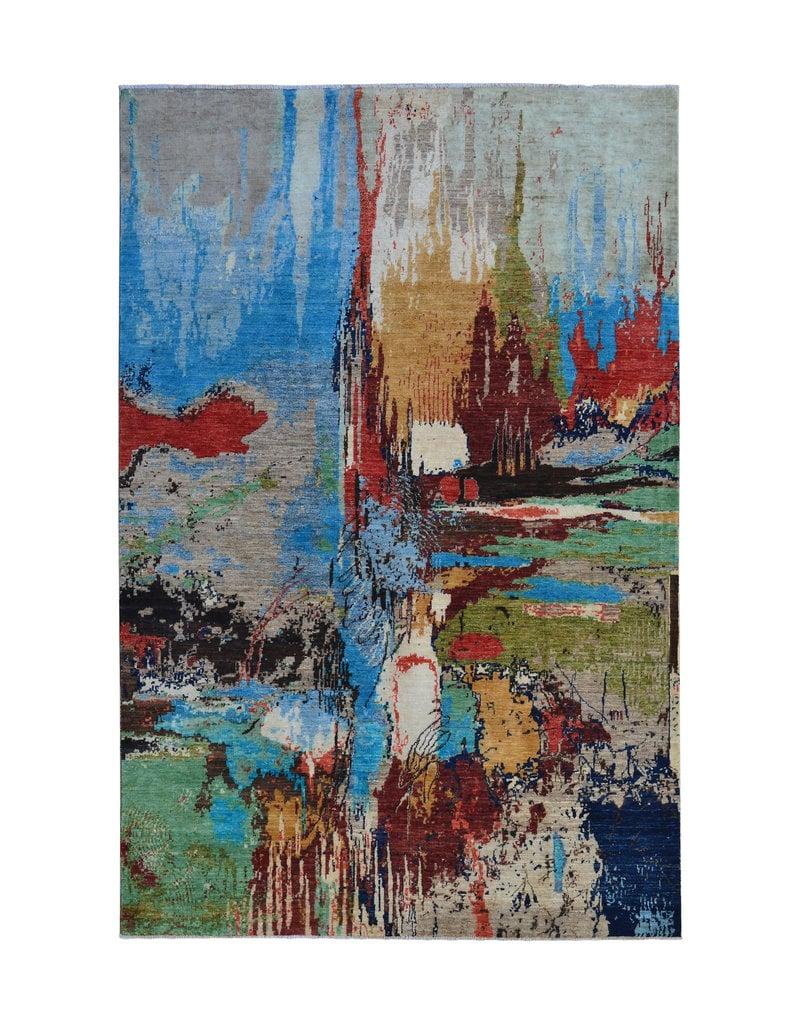 ZARGAR RUGS  Handgeknoopt Modern Art Deco tapijt 291x190cm  oosters kleed vloerkleed  multi
