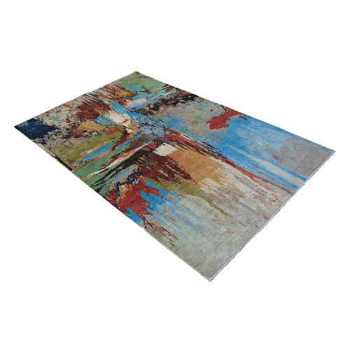 Handgeknüpft Modern Art Deco  291x190cm   Abstrakt Wolle Teppich multi