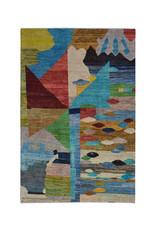 ZARGAR RUGS Handgeknüpft Modern Art Deco  296x193cm   Abstrakt Wolle Teppich multi