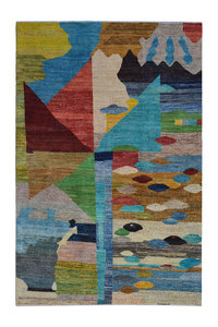 Hand knotted 9'7x6' Modern  Art Deco Wool Rug 296x193cm    Abstract Carpet   multi