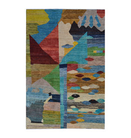 ZARGAR RUGS Hand knotted 9'7x6' Modern  Art Deco Wool Rug 296x193cm    Abstract Carpet   multi