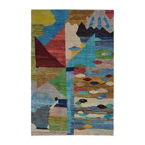 Handgeknüpft Modern Art Deco  296x193cm   Abstrakt Wolle Teppich multi