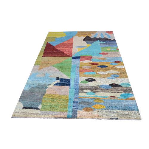 Handgeknoopt Modern Art Deco tapijt 296x193cm  oosters kleed vloerkleed  multi