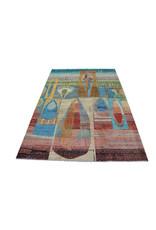 ZARGAR RUGS Handgeknüpft Modern Art Deco  300x200 cm   Abstrakt Wolle Teppich multi