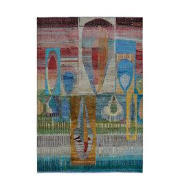 ZARGAR RUGS Handgeknüpft Modern Art Deco  300x200 cm   Abstrakt Wolle Teppich multi   design 79