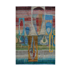 Hand knotted 9'8x6'5 Modern  Art Deco Wool Rug 300x200 cm  Abstract Carpet   multi design 79