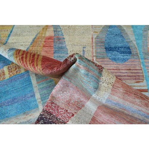 Handgeknüpft Modern Art Deco  300x200 cm   Abstrakt Wolle Teppich multi