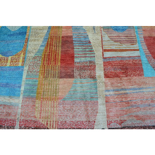 Hand knotted 9'8x6'5 Modern  Art Deco Wool Rug 300x200 cm  Abstract Carpet   multi