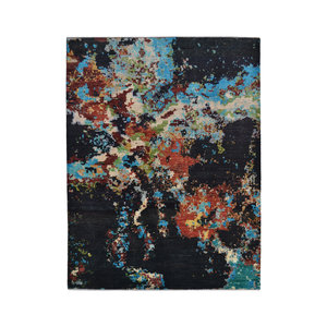 Hand knotted 8'x6' Modern  Art Deco Wool Rug Abstract Carpet