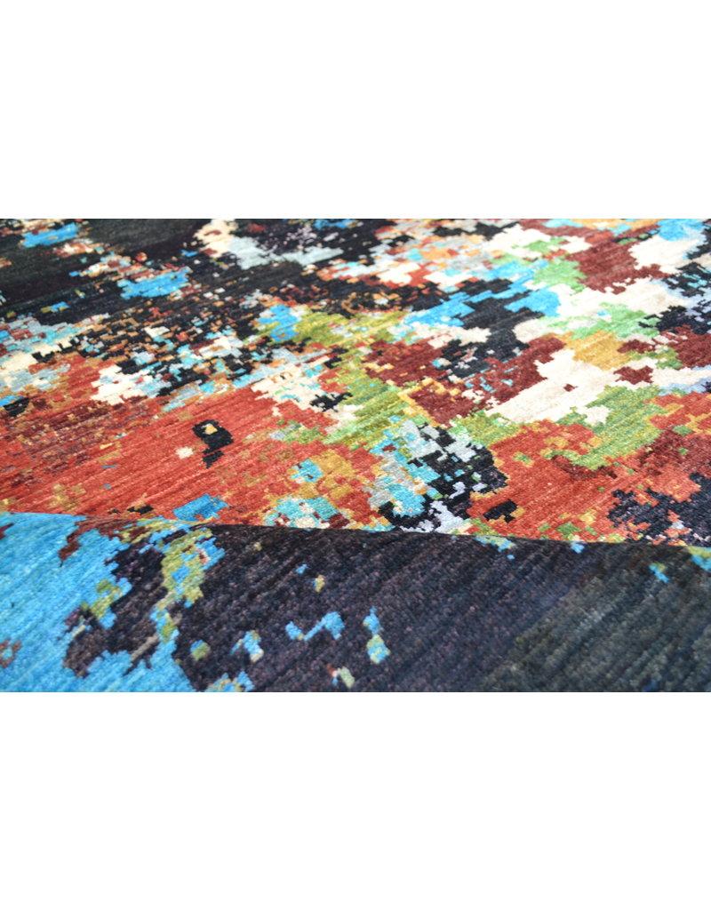 ZARGAR RUGS  Handgeknoopt Modern Art Deco tapijt 251x198 cm  oosters kleed vloerkleed  multi   design 92 star