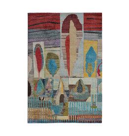 ZARGAR RUGS Handgeknüpft Modern Art Deco  296x199 cm   Abstrakt Wolle Teppich multi