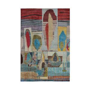 Handgeknüpft Modern Art Deco  296x199 cm   Abstrakt Wolle Teppich multi