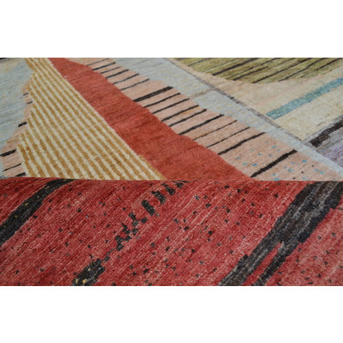 Hand knotted 9'7x6'5 Modern Art Deco Wool Rug Abstract Carpet Multi color