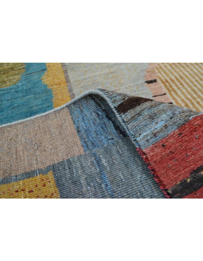 ZARGAR RUGS Handgeknüpft Modern Art Deco  296x199 cm   Abstrakt Wolle Teppich multi  design 79