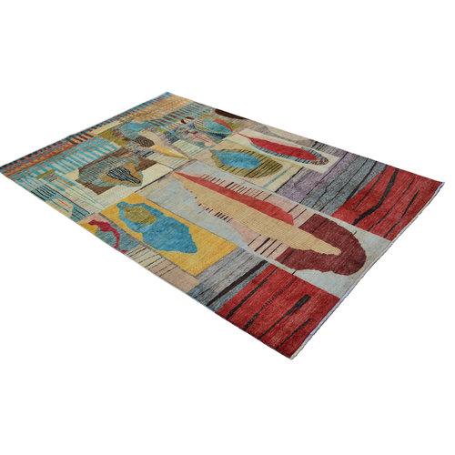Handgeknüpft Modern Art Deco  296x199 cm   Abstrakt Wolle Teppich multi  design 79