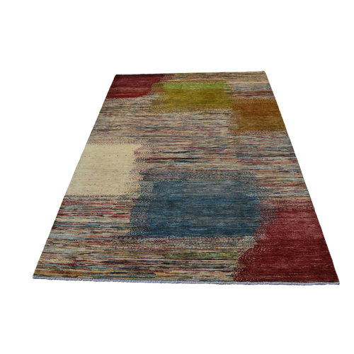 Hand knotted 9'6x6'5 Modern Art Deco Wool Rug Abstract Carpet multi color