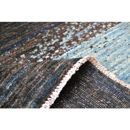 Hand knotted 9'8x6'5 Modern Art Deco Wool Rug Abstract Carpet multi color