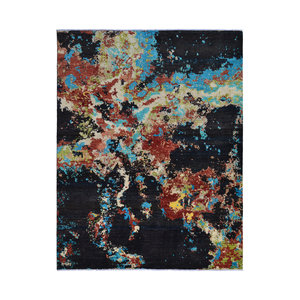Hand knotted 8'x6' Modern  Art Deco Wool Rug  Abstract Carpet   multi
