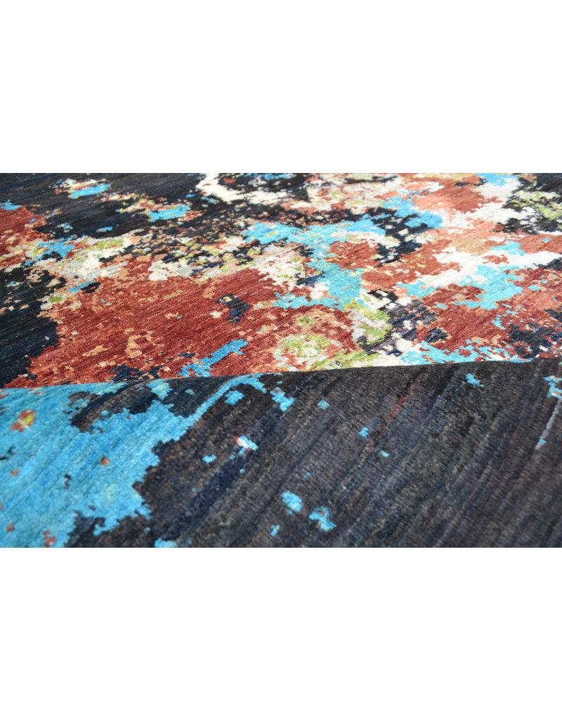 ZARGAR RUGS Handgeknüpft Modern Art Deco  251x194 cm   Abstrakt Wolle Teppich multi design 92 star