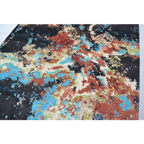 Hand knotted 8'x6' Modern  Art Deco Wool Rug Abstract Carpet Black