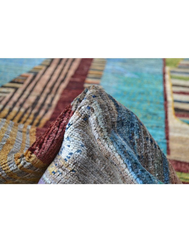 ZARGAR RUGS Handgeknüpft Modern Art Deco  292x201 cm   Abstrakt Wolle Teppich multi design 79