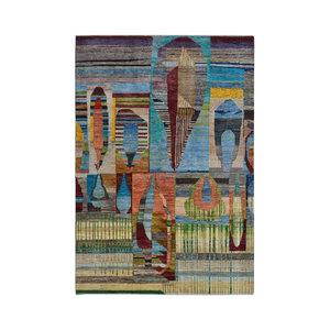 Handgeknüpft Modern Art Deco  292x201 cm   Abstrakt Wolle Teppich multi