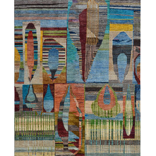 Hand knotted 9'5x6'5 Modern  Art Deco Wool Rug  Abstract Carpet   multi