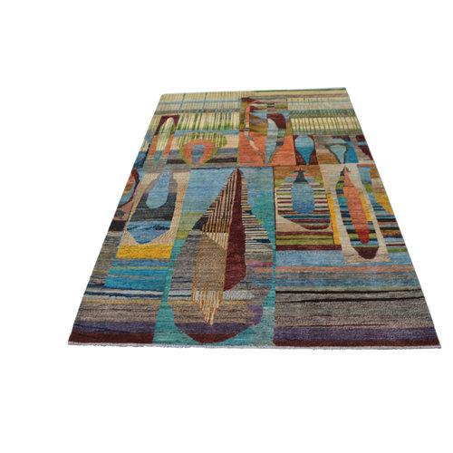Handgeknüpft Modern Art Deco  292x201 cm   Abstrakt Wolle Teppich multi design 79