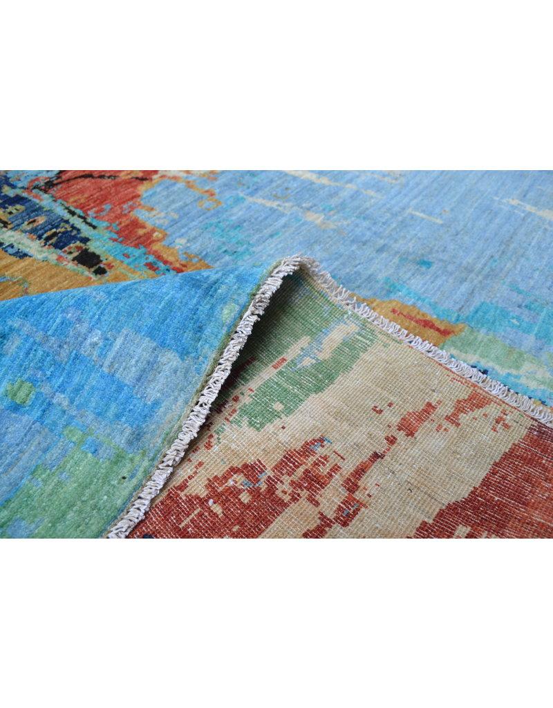 ZARGAR RUGS Handgeknüpft Modern Art Deco  291x202 cm   Abstrakt Wolle Teppich multi  design 136