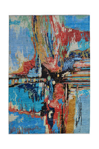 Hand knotted 9'5x6'6 Modern  Art Deco Wool Rug Abstract Carpet Rugs