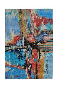 Handgeknoopt Modern Art Deco tapijt 291x202 cm  oosters kleed vloerkleed  multi