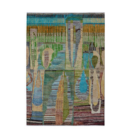 ZARGAR RUGS Hand knotted 9'5x6'5 Modern  Art Deco Wool Rug 292x198 cm  Abstract Carpet   multi