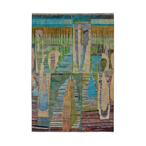Hand knotted 9'5x6'5 Modern  Art Deco Wool Rug  Abstract Carpet