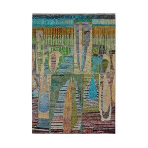 Handgeknüpft Modern Art Deco  292x198 cm   Abstrakt Wolle Teppich multi