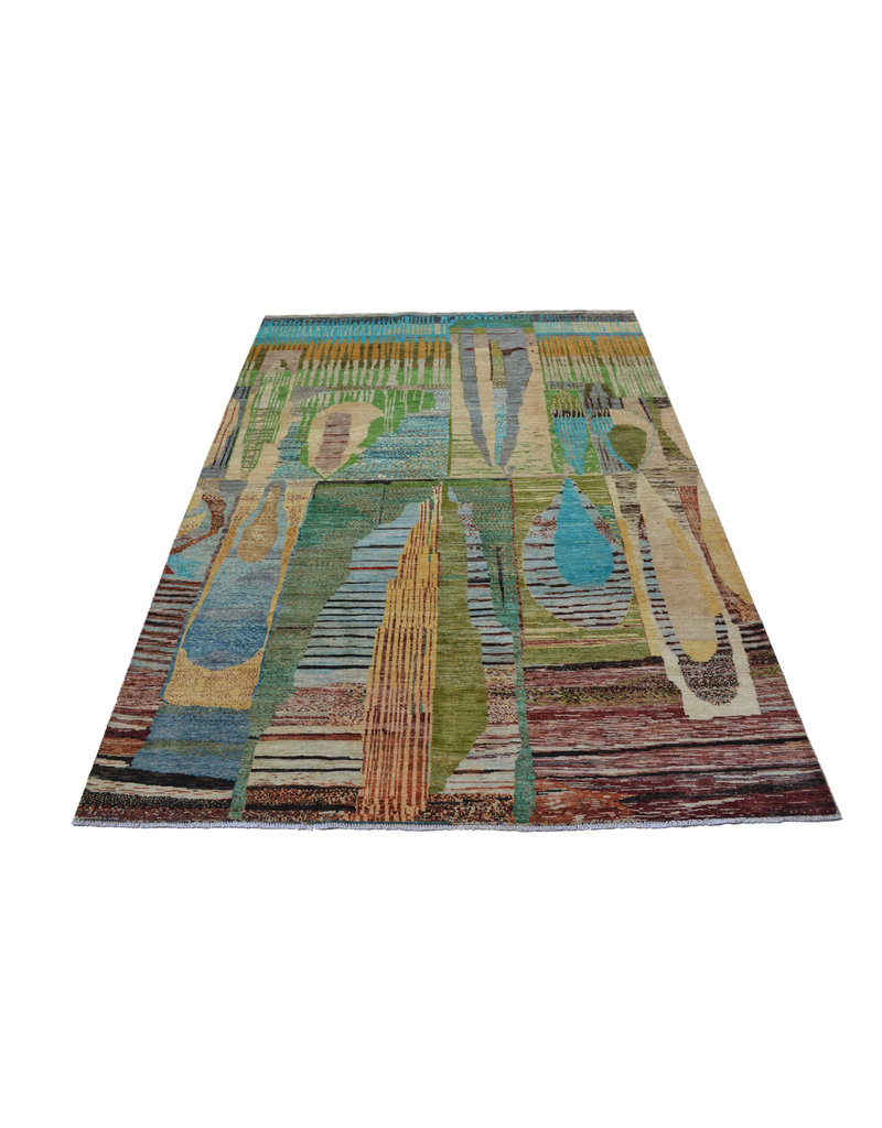 ZARGAR RUGS Handgeknüpft Modern Art Deco  292x198 cm   Abstrakt Wolle Teppich multi design 79