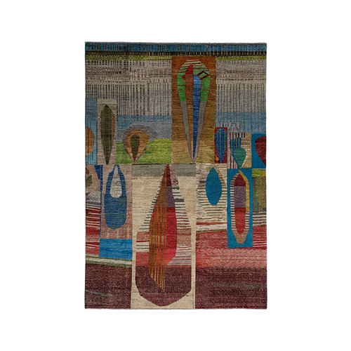 Colorful Hand knotted 9'84x6'66 Modern  Art Deco Wool Rug Abstract Carpet