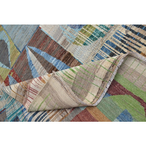 Handgeknoopt Modern Art Deco tapijt 298x203cm  oosters kleed vloerkleed  multi