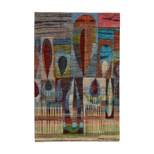 Abstract Carpet Hand knotted 9'7x6'6 Modern  Art Deco Wool Rug colorful