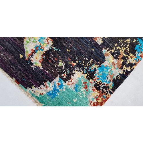 Handgeknoopt Modern Art Deco tapijt 296x198 cm oosters kleed vloerkleed  multi