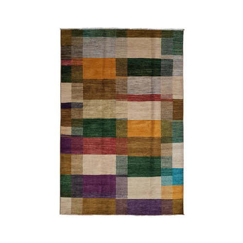 multi color Hand knotted 9'84x6'69 Modern Gabbeh Wool Rug Abstract carpet